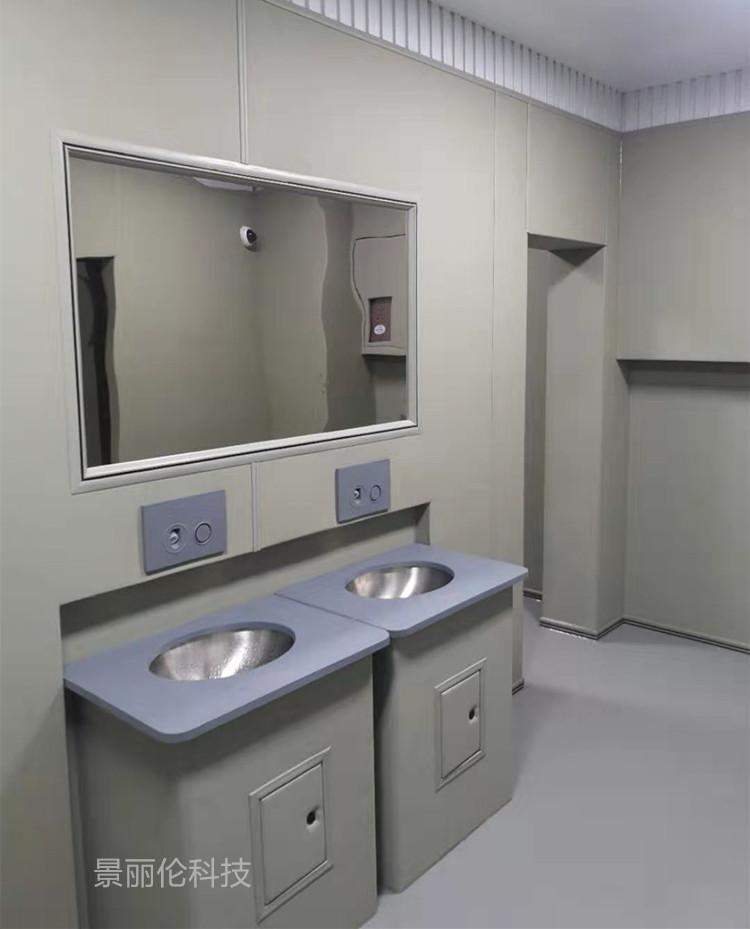 留置室软包洗手盆不锈钢防撞洗手台